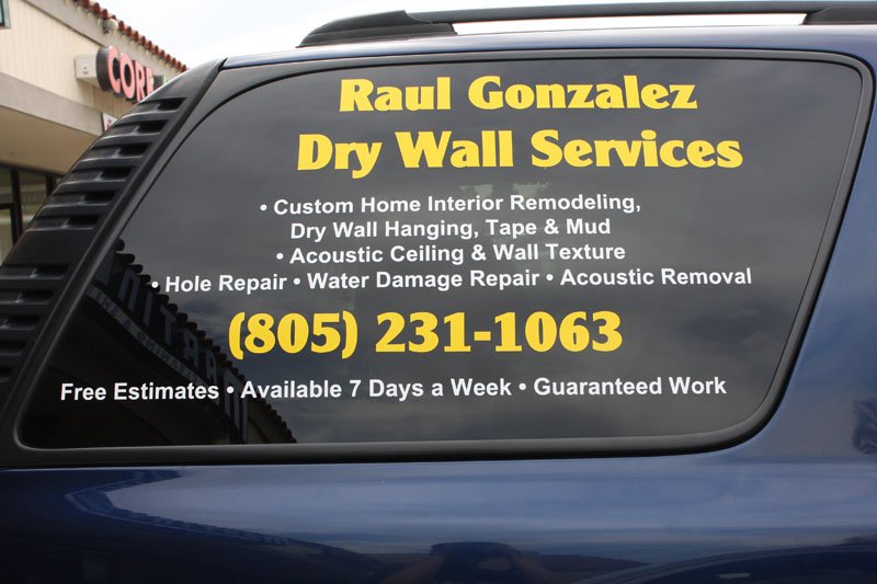 Custom vinyl window lettering at spectracolor in simi Custom vinyl windows online