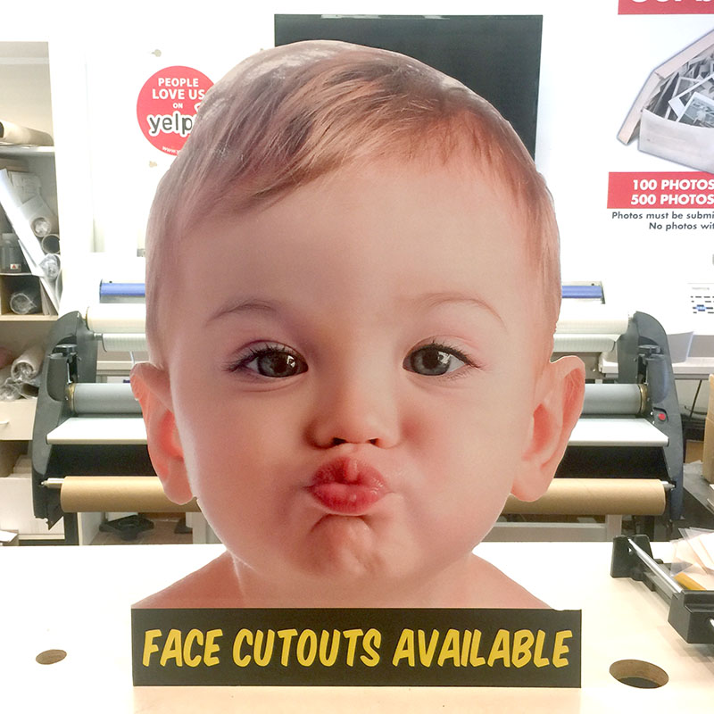 0ccd9675350 We now offer custom Big Face Cutout Board Signs in PVC Board or Corrugated  Plastic Board. These face cutouts are popular item at parties